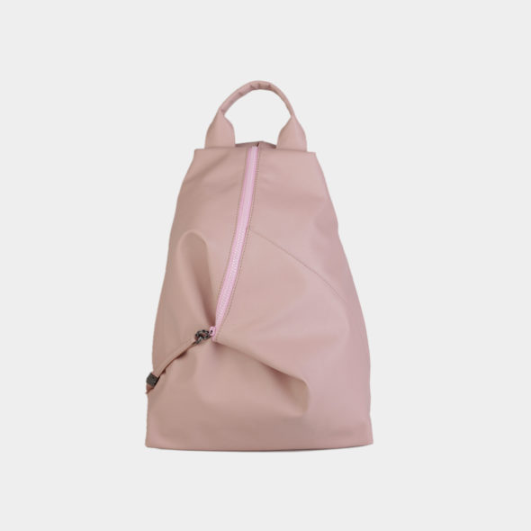 mochila minimal em couro sintetico rosa