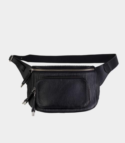 pochete preta de couro